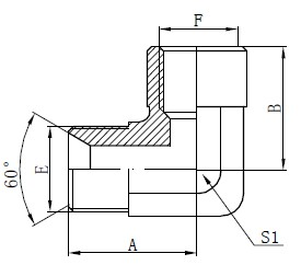 Elbow BSP Adapter Fittings Drawing
