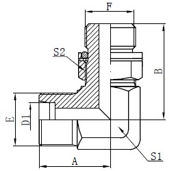 Elbow Hydraulic Adapters Drawing