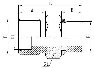 SAE O-ring Hose Connectors Drawing
